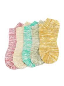 Marled Knit Invisible Socks 5 Pairs