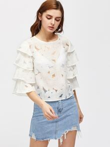 Layered Sleeve Cutout Flower Top