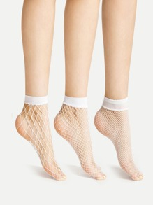 Fishnet Ankle Socks 3 Pairs