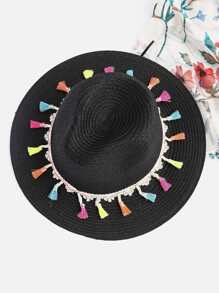 Tassel Trim Straw Fedora Hat