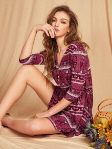 Aztec Print Drawstring Shirtwaist Dress