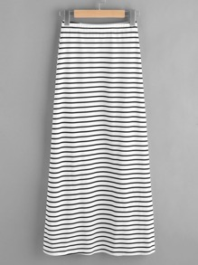 Elastic Waist Striped Split Side Jersey Skirt