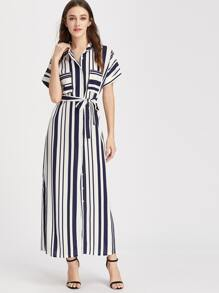 Striped Self Tie Shirt Dress