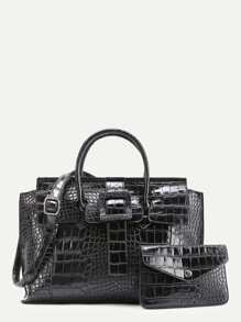 Crocodile Embossed Grap Bag With Clutch
