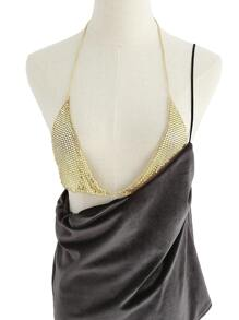 Sequin Detail Halter Bralet Chain