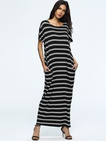 Striped Full Length Dress With Pockets