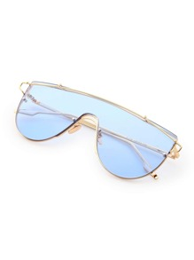 Metal Arm Tinted Lens Visor Sunglasses