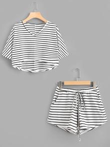 Striped Dip Hem Tee With Drawstring Shorts