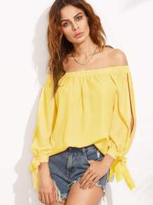 Split Self Tie Sleeve Bardot Top
