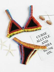 Crochet Trim Triangle Bikini Set