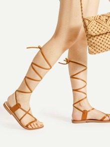 Toe Ring Criss Cross PU Sandals