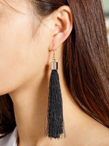 Tassel Decorated Long Drop Earrings