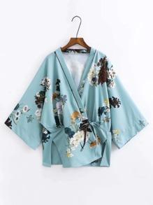 Split Side Tie Waist Floral Kimono