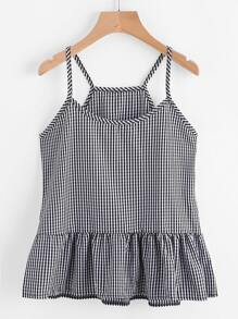 Gingham Peplum Cami Top
