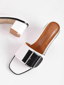 Two Tone Buckle Detail Heeled Mules