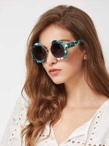 Jungle Print Frame Contrast Lens Sunglasses