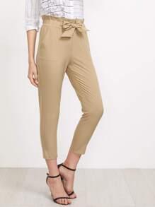 Frill Waist Self Tie Tailored Pants