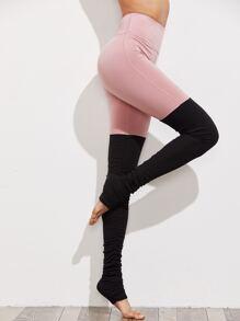 Active Color Block Shirred Yoga Leggings
