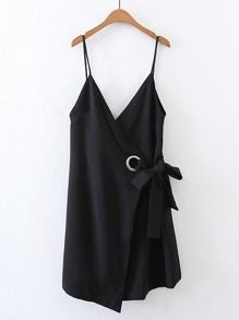 Double V Neck Ring Detail Cami Dress
