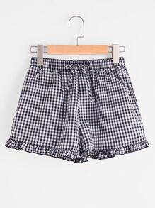 Drawstring Waist Frilled Gingham Shorts