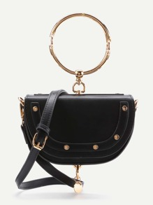 Half Moon Shaped Crossbody Bag With Ring Handle