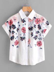 Embroidery Rolled Sleeve Shirt