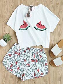 Watermelon Print Tee And Shorts Set