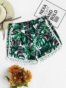 Palm Leaf Print Pom Pom Trim Shorts