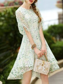 Floral High Low Pleated Dress