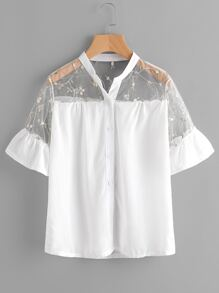 Embroidery Mesh Yoke Frill Cuff Shirt