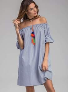 Bardot Vertical Striped Bell Cuff Dress With Pom Pom