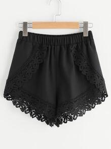 Elastic Waist Floral Lace Trim Wrap Shorts