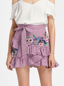 Self Belt Embroidered Asymmetric Ruffle Checkered Skirt