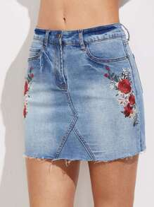Bleach Wash Raw Hem Embroidered Denim Skirt