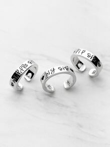Heart Shaped Detail Friendship Rings 3pcs