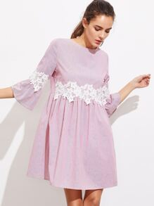 Floral Lace Applique Fluted Sleeve Striped Smock Dress
