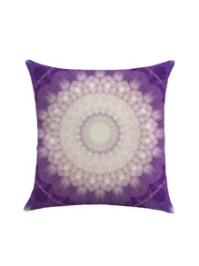 Ombre Lotus Flower Print Cushion Cover
