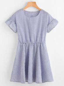 Striped Blouson A Line Dress