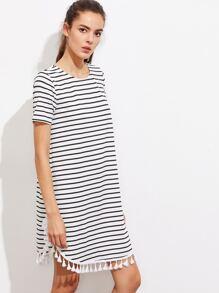 Tassel Trim Dolphin Hem Striped Tee Dress