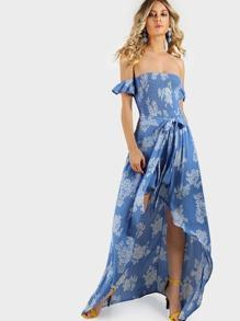 Shirring Bardot Sleeve High Low Maxi PASTEL BLUE