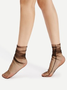 Mesh Side Seam Ankle Socks