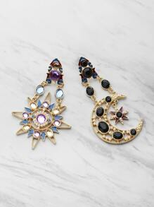 Gemstone Embellished Star And Moon Shaped Earrings