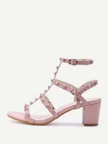 Rockstud Embellished Block Heeled Sandals