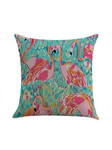 Multi Flamingo Print Pillowcase Cover