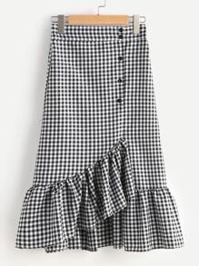 Gingham Layered Frill Hem Skirt