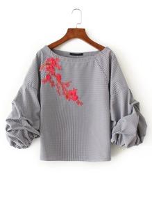 Drop Shoulder Seam Grid Embroidery Blouse