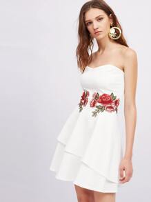 Symmetrical Appliques Layered Hem Bandeau Dress