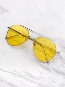 Contrast Top Bar Aviator Sunglasses