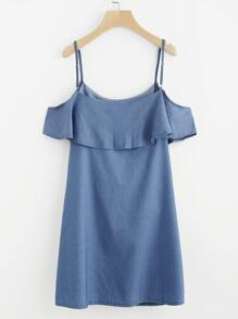 Frill Trim Cold Shoulder Dress