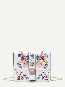 Flower Embroidery Flap Chain Crossbody Bag